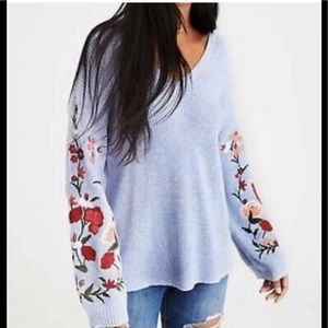 American Eagle embroidered bell sleeve sweater